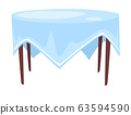 Tablecloth on round table isolated icon, cafe or restaurant 63594590