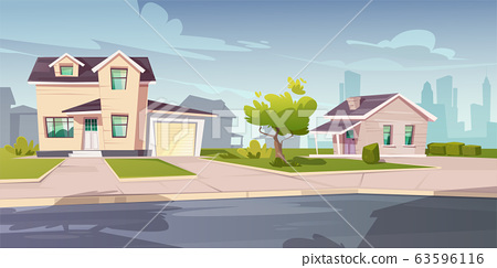 Suburban houses, cottage with garage 63596116