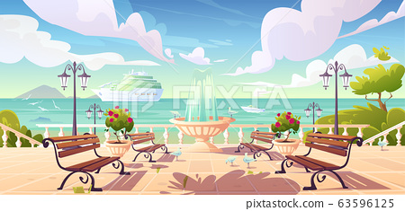 Summer seafront quay with cruise ship in ocean 63596125