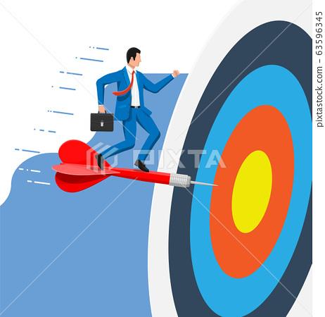 Businessman aim arrow to target. 63596345