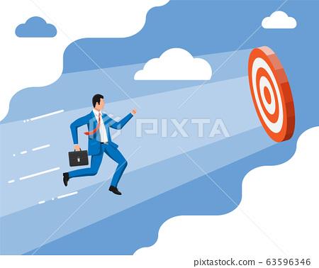 Businessman aim arrow to target. 63596346