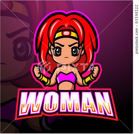Fighter woman mascot esport logo design 63598522