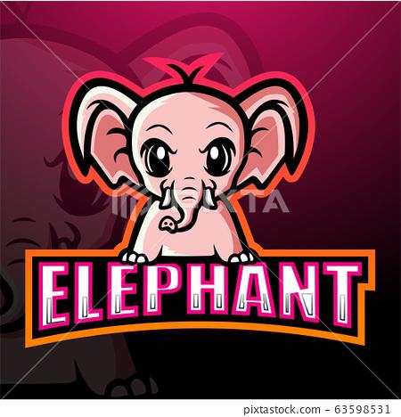 Elephant mascot esport logo design 63598531