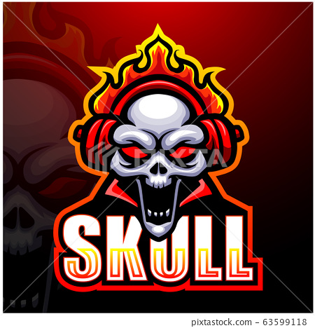 Skull fire mascot esport logo design	 63599118