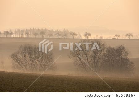 Spring foggy and misty sunrise landscape 63599167