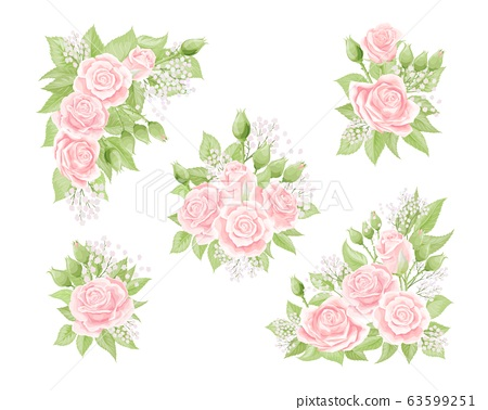 Cream pink rose flower bouquets with green leaves isolated 63599251
