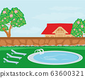 house with swimming pool - illustration 63600321