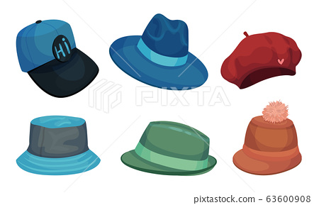 Wide Brimmed Hats and Headdresses Isolated on White Background Vector Set 63600908