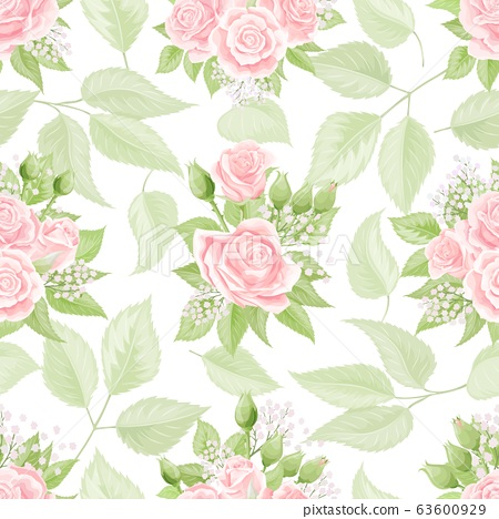 Seamless pattern with cream pink roses. Vintage floral background 63600929