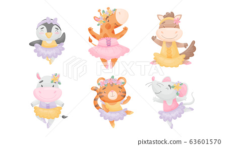 Cute Cartoon Animals in Ballet Skirt Dancing Vector Set 63601570