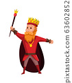 Cartoon king wearing crown and mantle. Cartoon king holding a golden scepter. Color vector illustration 63602852