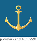 Silhouette anchor isolated on blue background 63605591