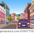 City Center Road with Transport in Motion Vector 63607756