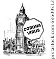 Vector Cartoon Rough Sketchy Illustration of United Kingdom, London, Big Ben Clock Tower and Coronavirus covid-19 Epidemic Warning Sign 63609512