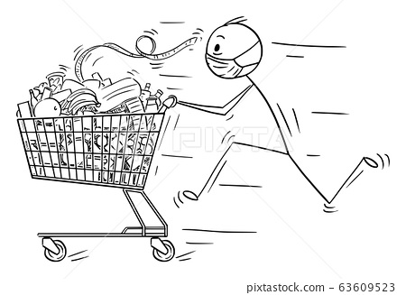 Vector Cartoon Illustration of Man Wearing Face Mask Running and Pushing Shopping Cart With of Food From Supermarket or Grocery Store 63609523