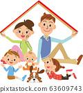 집, 지붕, 웃는 얼굴 63609743