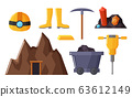 Mining Industry Equipments and Objects Vector 63612149