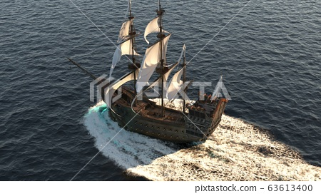 A medieval ship sailing in a vast blue ocean. The concept of sea adventures in the Middle ages. 3D Rendering 63613400