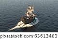 A medieval ship sailing in a vast blue ocean. The concept of sea adventures in the Middle ages. 3D Rendering 63613403