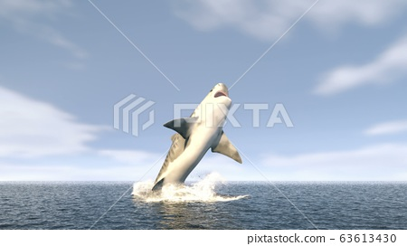 A large tiger shark leaps out of the water with a wide open mouth full of sharp dangerous teeth. 3D Rendering 63613430