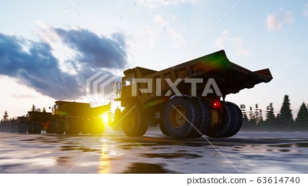 Big yellow huge quarry trucks are going to the construction site. Dump trucks of the quarry industry. The concept of the construction. 3D Rendering 63614740