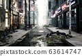 A deserted post-apocalyptic city. The camera flies through the empty ruined city. Deserted post-apocalyptic street in the ruins of buildings. The Concept of The Apocalypse. 3D Rendering 63614747