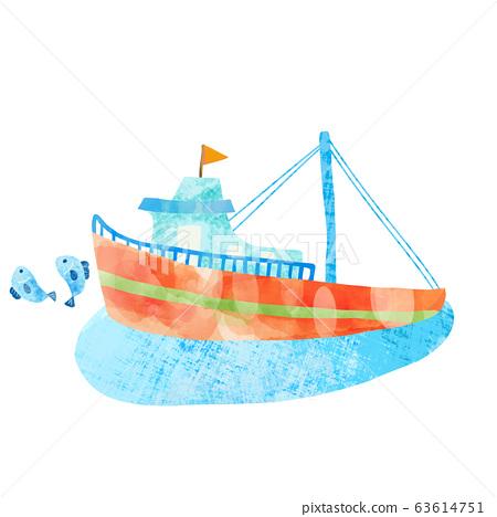 可愛的漁船的水彩插圖 63614751