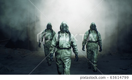 Stalkers in military protective clothing and a gas mask are walking along an abandoned and deserted metro. The concept of a post-apocalyptic world after a nuclear war. 3D Rendering 63614799