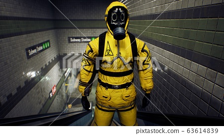 A survivor in chemical protective clothing rises to the surface from a deserted subway. The concept of a post-apocalyptic world after a global pandemic. 3D Rendering 63614839