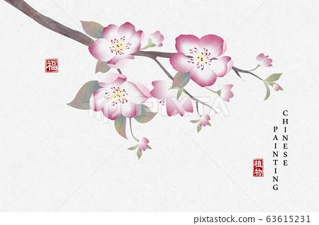 Chinese ink painting art background plant elegant flower peach blossom. Chinese translation 63615231