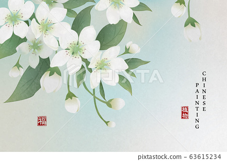 Chinese ink painting art background plant elegant flower pear blossom. Chinese translation 63615234