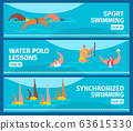 Swimming sport with people professional swimmers in swimming pool, web banners set flat vector illustration. 63615330