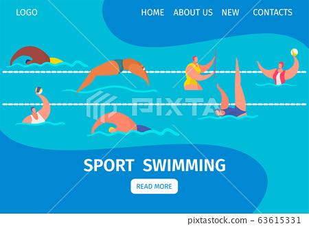 Swim Sport Web Banner With People Professional Stock Illustration 63615331 Pixta