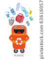 Waste sorting and recycling concept. Color ilustration. 63616057
