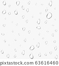Different realistic transparent water drops. Glass bubble drop condensation surface on isolated background. Vector clean drop splash 63616460