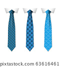 Set different blue ties isolated on white background. Colored tie for men. Vector plain illustration 63616461