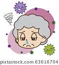 콧물이 나온다 노인 여성과 바이러스의 일러스트 63616704