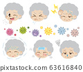 Illustration set of elderly woman with poor health and virus house dust (no main line) 63616840