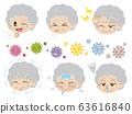 健康狀況差和病毒屋塵的老年婦女的插圖集(無主線) 63616840