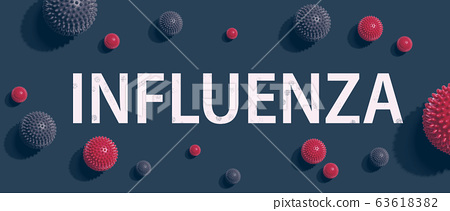 Influenza theme with viral objects 63618382