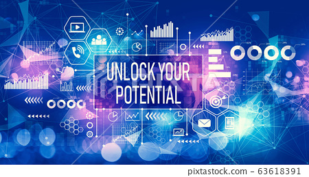 Unlock your potential with technology light background 63618391