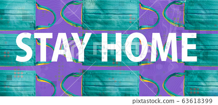 Stay at home theme with surgical medical face masks 63618399