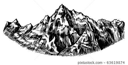 Alps Mountains. Chamonix-Mont-Blanc peaks. Vintage rock, old highlands range. Hand drawn vector 63619874