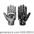 Mystical magic palmistry. Esoteric or alchemy occult sketch for tattoo. Fate in the palm of your 63619933