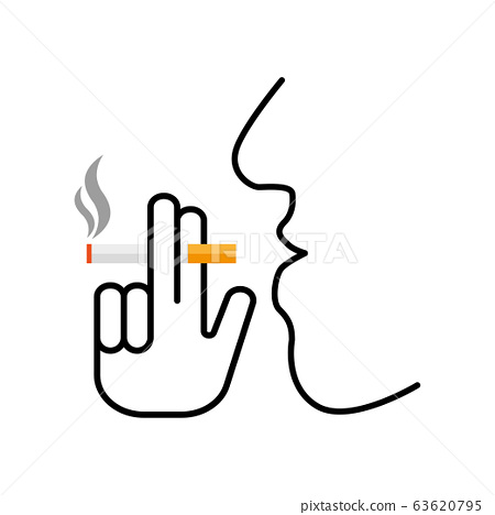 Cigarette with hand icon. Smoking area vector sign 63620795