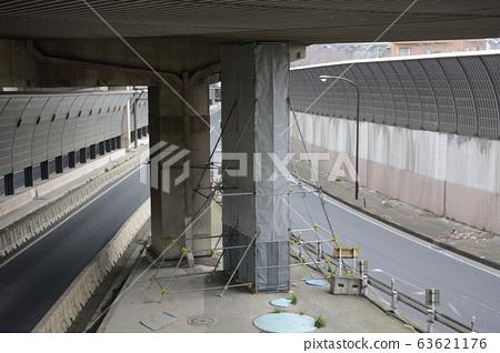Metropolitan expressway pier, repainting work 63621176