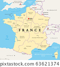 France, political map. Regions of Metropolitan France. French Republic with capital Paris and 13 administrative regions on the mainland of Europe and their prefectures. English. Illustration. Vector. 63621374