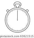 Analog sport stop watch. Thin black line illustration 63621515