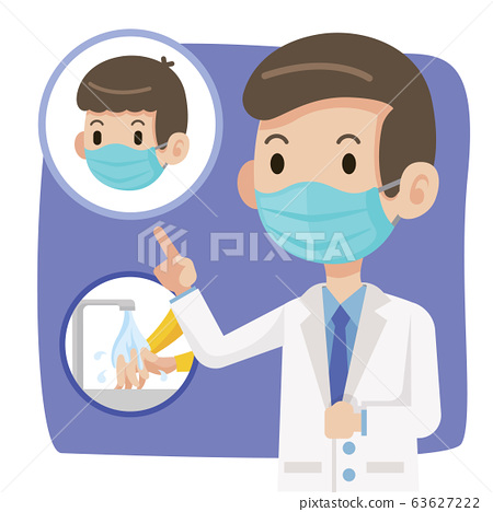 Doctor wearing protective surgical mask and advise people to wear surgical mask and washing hands to protect against virus coronavirus Covid-19 - vector character 63627222