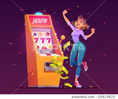 Slot machine jackpot casino win, money prize. 63629628